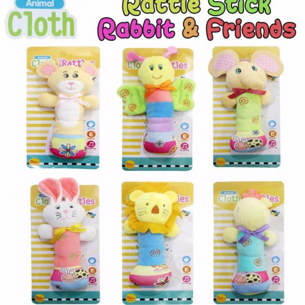 RATTLE STICK ANIMAL CLOTH RABBIT & FRIENDS